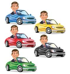 Men driving convertible vector