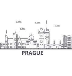 prague architecture line skyline vector image vector image