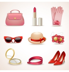 Woman accessories icon set vector image