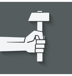 working symbol hand with hammer vector image vector image