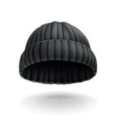 Beanie black cap icon vector image vector image