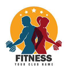 fitness club emblem with training bodybuilders vector image vector image