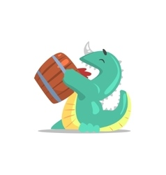 Green dragon-like monster drinking beer from the vector