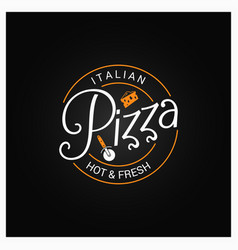pizza logo badge design background vector image