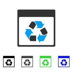 Recycle calendar page flat icon vector