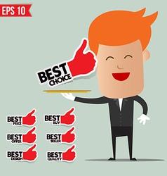 Waiter serving best label set - - EPS10 vector image
