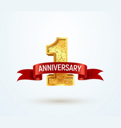 1 year anniversary isolated design element vector image