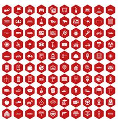 100 car icons hexagon red vector