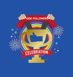 100k likes celebration sign symbol vector