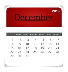 2013 calendar December vector