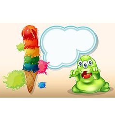 A scary monster beside the giant icecream vector image