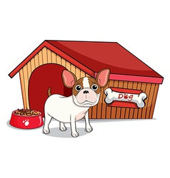 A young bulldog outside the doghouse vector image
