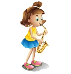 A young lady playing with the saxophone vector image