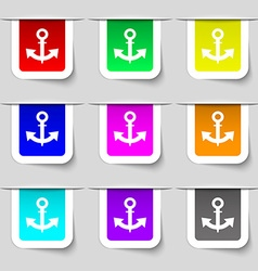 Anchor Icon sign Set of multicolored modern labels vector