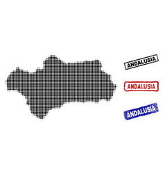 Andalusia province map in halftone dot style with vector