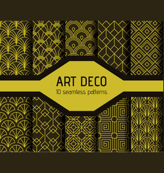 art decto seamless patterns vector image
