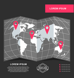 Banner template with world map vector