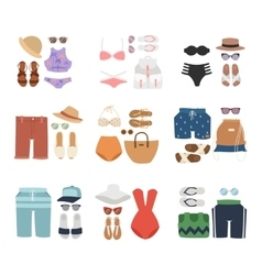 Beachwear fashion travel different flat vector image