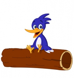 bird on log vector image