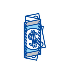 Blue contour of folded bill in many parts vector