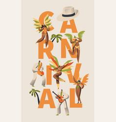 Brazilian samba carnival latino character poster vector