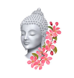 Buddha face with pink cherry flowers print vector