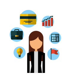 businessperson with financial icons vector image
