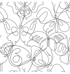 butterfly line art seamless pattern flying vector image