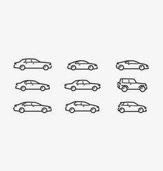 car icon set transport transportation symbol vector image