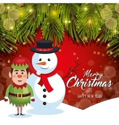 card christmas with snow and elf red bakcground vector image