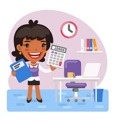 Cartoon female accountant in office vector