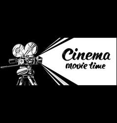 cinema logo festival vintage old movie camera vector image