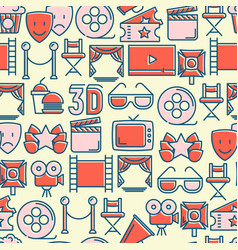 cinema seamless pattern with thin line icons vector image