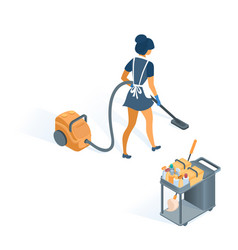 cleaning trolley and maid in uniform with apron vector image