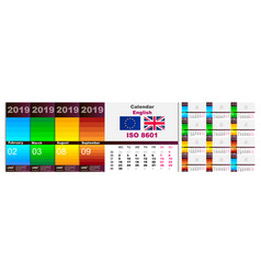 Colorful multicolored wall calendar for 2019 in vector