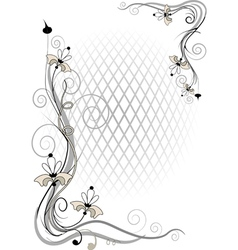 Corner twig and flower vector