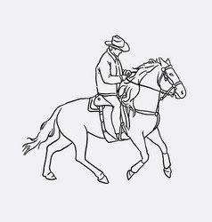 Cowboy riding horse sketches vector