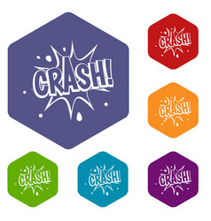 Crash explosion icons set hexagon vector