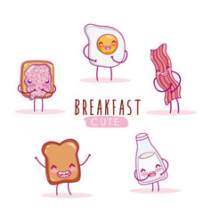 cute breakfast ingredients kawaii cartoon vector image