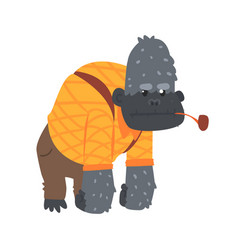 Cute cartoon gorilla in an orange shirt and brown vector