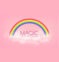 cute magic rainbow with clouds on pink background vector image