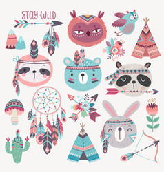 Cute woodland boho tribal characters rabbit owl vector