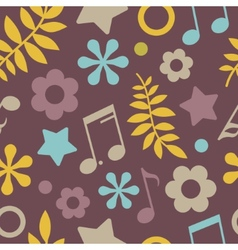 Dark seamless pattern of stars notes and leaves vector image