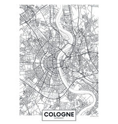 Detailed poster city map cologne vector
