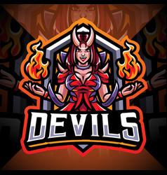 devils girl esport mascot logo design vector image