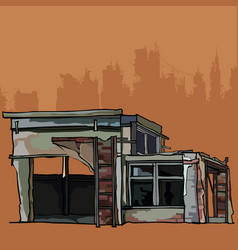 dilapidated brick building is a garage with annexe vector image