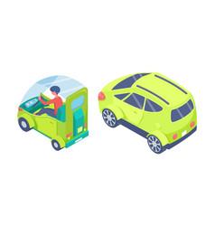 eco transport electric car automobile set vector image