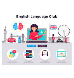 English language club banners vector