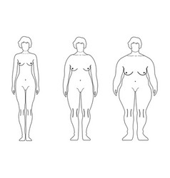 fat european women outline style human front side vector image
