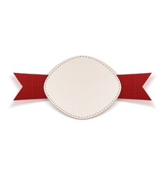 Festive label with red ribbon vector
